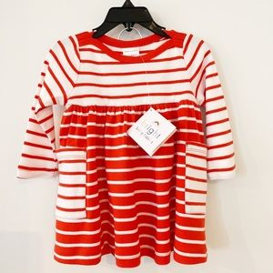Hanna Andersson Red Stripe Organic Dress. NWT